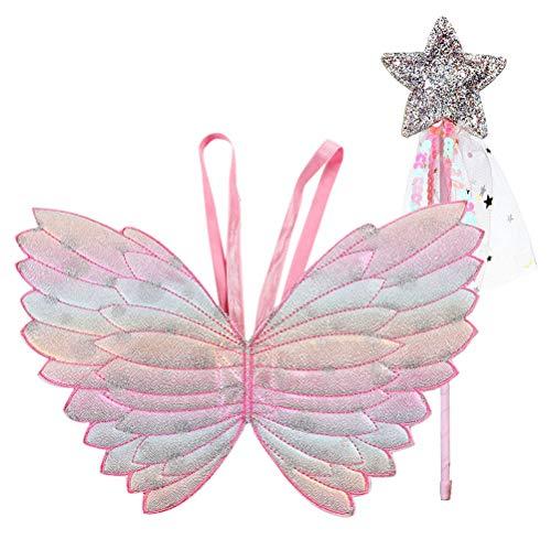 Lurrose Vlinder Vleugels Fairy Stick Gradient Kleurrijke Engel Cosplay Prestatie Kostuum voor Kinderen 2 stks