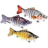 OhhGo Esche da Pesca in Confezione da 3 Esche Artificiali Realistiche a 7 Segmenti Esche R...