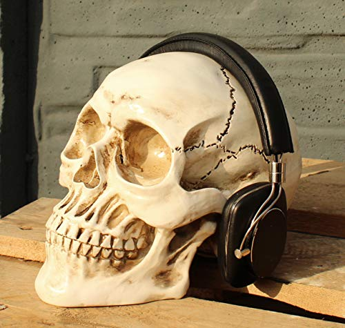 Totenkopf Weiss Kopfhörerständer Headset Halter Ständer Skull Totenschädel Schädel Deko Resin
