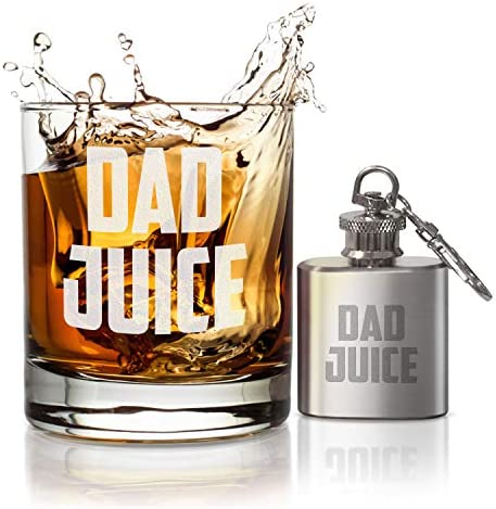 Treasure Trades Dad Juice Whiskey Glass with Mini Flask Keychain Gift Set for Father s Day Retirement product image