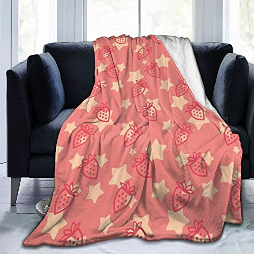 Manta mullida, linda manta de fresas sobre estrellas, diseño orgánico para comer sabroso, ultra suave, manta para dormitorio, cama, TV, manta para cama de 203 x 152 cm