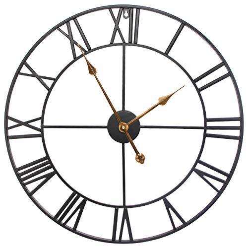 Wifzu 60 cm große Metall-Skelett-Wanduhr, Vintage-Retro-Stil & geräuschlose Quarz-Uhr mit römischen Ziffern für Wohnzimmer, Schlafzimmer, Büro, Lounge, Hotel, Dekoration, batteriebetrieben - Schwarz