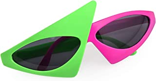 PLAY BLING Novelty Party Sunglasses 80s Asymmetric Glasses Hot Pink and Neon Green Glasses for Hip Hop Dance Halloween Party