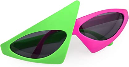 PLAY BLING Novelty Party Sunglasses 80s Asymmetric Glasses Hot Pink and Neon Green Glasses Hip Hop Dance Halloween Party