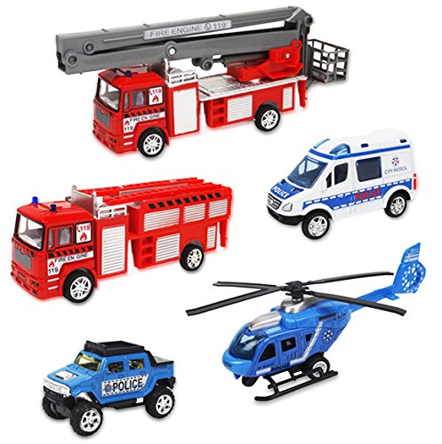 Liberty Imports Set of 5 Rescue Diecast Police Firetruck Pullback Vehicles Playset (1:64 Scale)