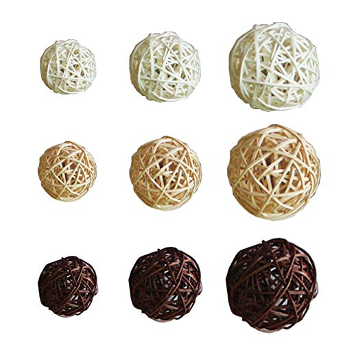 Wenlai 30 Piezas Bolas de Mimbre Ratán, Accesorios de Aromaterapia, Decorativas Bolas, Rellenos de Jarrón de Esferas Naturales, para Decoración del Hogar, Artesanía, Fiesta(Blanco, Beige, Marrón)