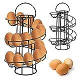 MultiWare Support à Oeufs Spirale Oeufs Presentoir en Métal Chrome Noir pour Cuisine Contenir 12–18 œufs