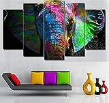 GLORIOUS.YY Cuadro Moderno En Lienzo 5 Piezas Animales Elefantes Coloridos Montado En Bastidor De Madera De 2 Cm De Grosor. 150X80Cm(B)