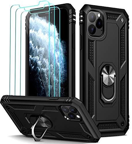 ivoler Funda para iPhone 11 Pro MAX con [Cristal Vidrio Templado Protector de Pantalla *3], Anti-Choque Carcasa con Anillo iman Soporte, Hard Silicona TPU Caso - Negro