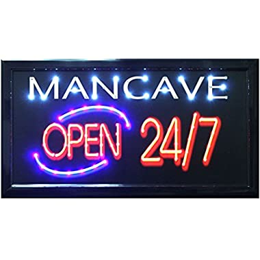 Crystal Art  Sign of The Times Man Cave LED Lighted Sign, 10  x 19