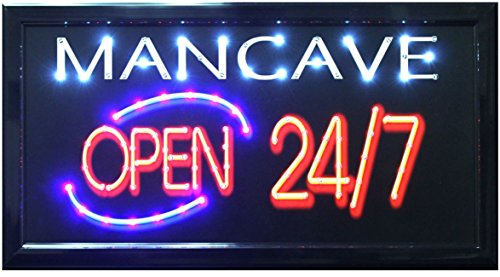 Vintage LED Lighted Mancave Open 24/7 Marquee Sign