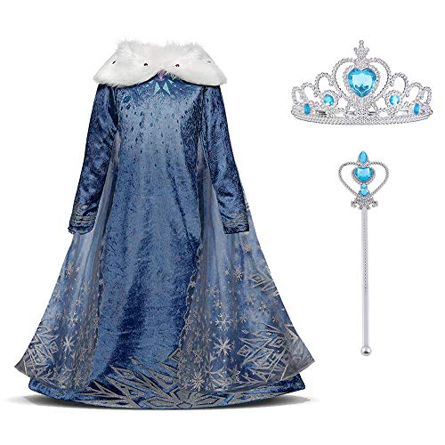 URAQT Snow Queen Elsa Frozen Vestito Set, Winter Party Princess Dress Costume con Colletto in Peluche per 3-4 Anni