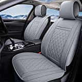 INCH EMPIRE Car Seat Cover-Water Proof Synthetic Leather Cushion Front and Back Universal Fit for Most of Sedan SUV Truck Hatchback Durable Use for All Season(Grey Grid Full Set)