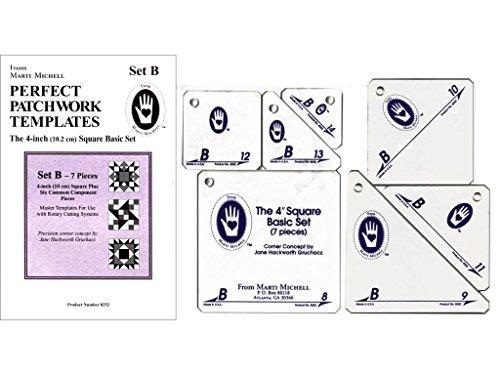 Marti Michell 4-Zoll Perfekt Patchwork Vorlage Basic quadratisch Set B, 7Stück