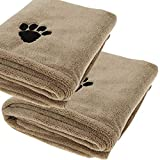 Pack of 2 Dog Towel - Absorbent Large Microfibre Towel For Dogs - Superior Absorption & Softness - 110 X 77 Cm - Pet Towel - Machine Washable & Dryable