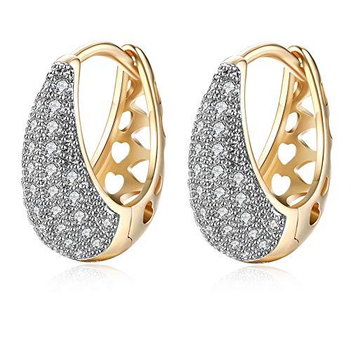 Pendientes de aro de oro Gold para mujer - Pendientes de circonita cúbica Huggie de moda Pendientes de aro pequeños Regalo para hombres Mujeres Chica ¡Regalo de joyería de 18 mm!