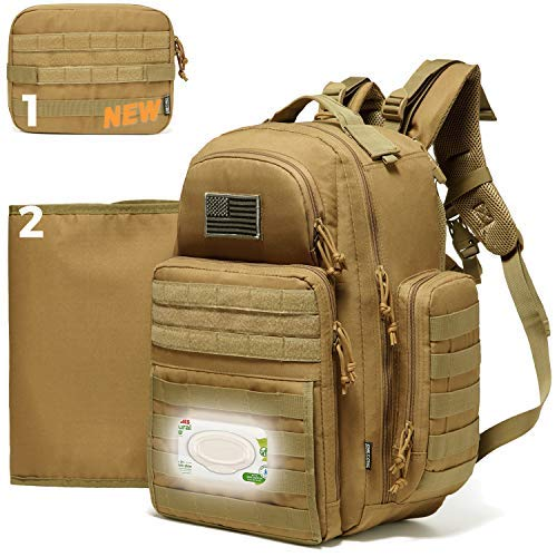 Diaper Bag Backpack for Dad, DBTAC Tactical Travel Baby Nappy Bag for Men w/Changing Pad, Insulated+Wipe Pockets, Stroller Straps, Tan