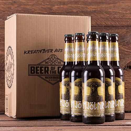 WACKEN BRAUEREI Pils, kaltgehopft Craft Beer Box 6 x 0,33 l Flasche | MJÖLNIR | Viking Craftbeer Set Gift for Men | Wikinger Kraft Bier Geschenk für Männer | Party Festival Heavy Metal