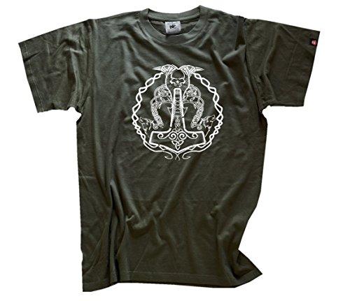 Shirtzshop-Mjolnir Thors Martillo-Camiseta, Hombre, Mjolnir - Thors Hammer T-Shirt, Verde Oliva, XXXL