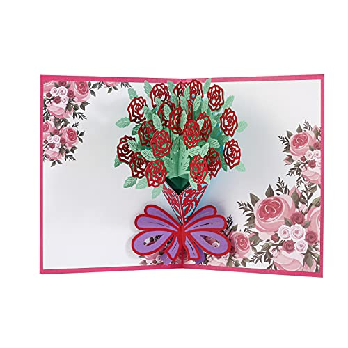 Tarjeta emergente flor 3D, tarjeta de cumpleaños para mujer, novia, regalo original para mujer, tarjeta de felicitación en papel para escribir para el día de San Valentín, día de la madre, Navidad