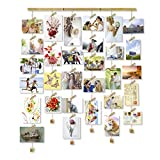 Love-KANKEI Friend Bilderrahmen Collage Fotorahmen Holzbilderrahmen mit 30 Kleinen Holzklammern Gedenktag wie Geburtstag Weihnachten usw.