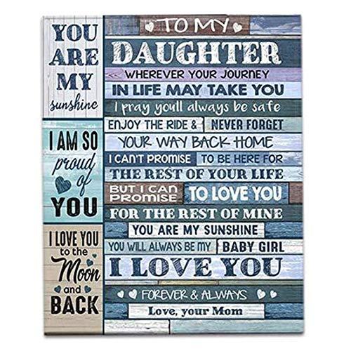 TETEAI Asweeting zu meiner Tochter von Mama Decke, Brief Postkarte Fleece Decke zu meiner Tochter, ideal für Geburtstag Weihnachten Thanksgiving Abschlussfeier (F)