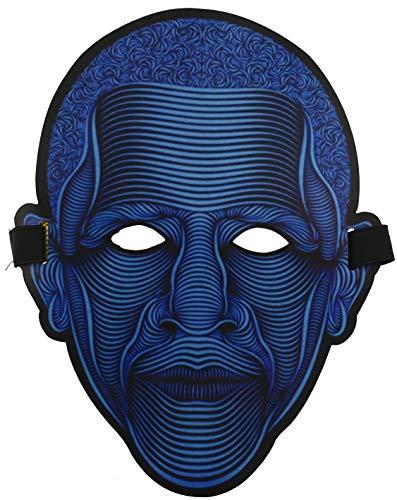 nowolights® geräuschaktive LED-Maske für Raves Festival Techno EDM Clubs Motto Partys elektrisch stufenlos einstellbar, Komfortables ABS Material Style President