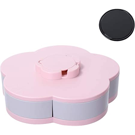 Coral Blue, Heart snack nut box party snack trays candy tray household living room storage dried fruit box with separate compartments and a cover EasyLIving Double petal rotating fruit box