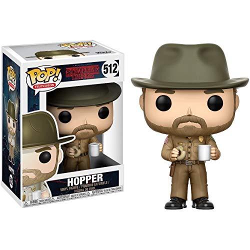 Funko Hopper w/ Donut: Stranger Things x POP! TV Figura de vinilo y 1 paquete protector gráfico de...