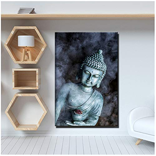 ASLKUYT Smoke Vape Buddha Statue Buddhism Canvas Paintings Religious Buddha Wall Posters for Living Room Wall Decor-24x36 in No Frame