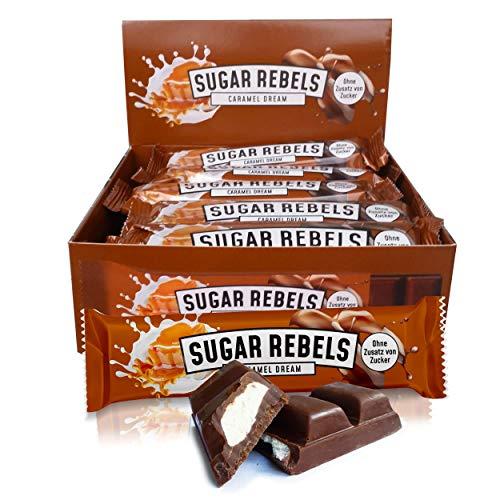 SUGAR REBELS Caramel Dream Box - 20 Schokoladen Riegel - ohne Zusatz von Zucker | Karamellcreme mit belgischer Vollmilchschokolade | Süßigkeiten Box Großpackung 20x35g Schokoriegel ketogene