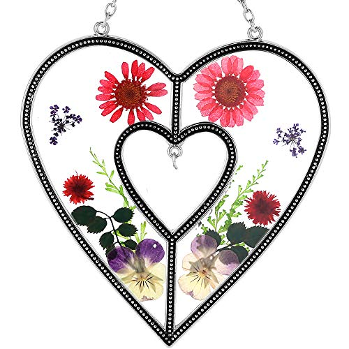 Heart Suncatchers Stained Glass Suncatchers with Real Embedded Pressed Flower Heart Window Ornament Decoration Birthday Gift for Mom Grandma Friend Sister Love Nurse Chain for Hanging Metal and Glass…