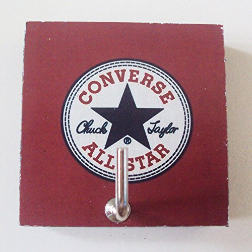 """Agility Home Decor Bedroom Wall Hanger Hat Bag Necklace Medal Key Adhesive Wood 2.36"""" x 2.36"""" Small Hook Converse All Star's Photo"""