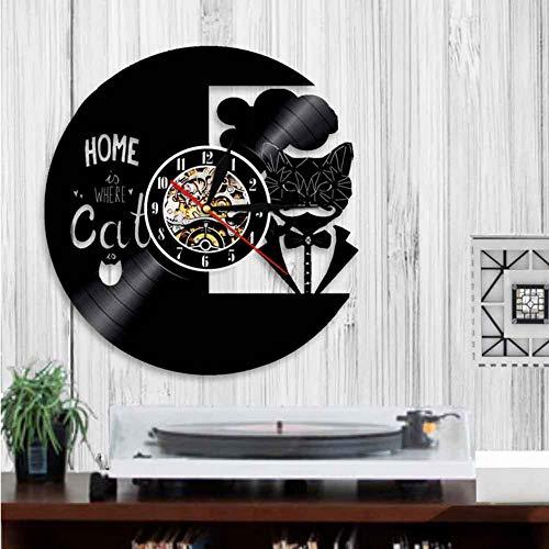 Ysain Mur S Gentleman Cat Rétro Disque Vinyle Mur Design Moderne Élégant Décor À La Maison Arrivée