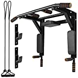 Bigzzia Multifunctional Wall Mounted Pull Up Bar with Resistant Bands, Dip Station Chin Up bar for Indoor Home Gym Workout, Power Tower Set Training Equipment Fitness Dip Stand Supports