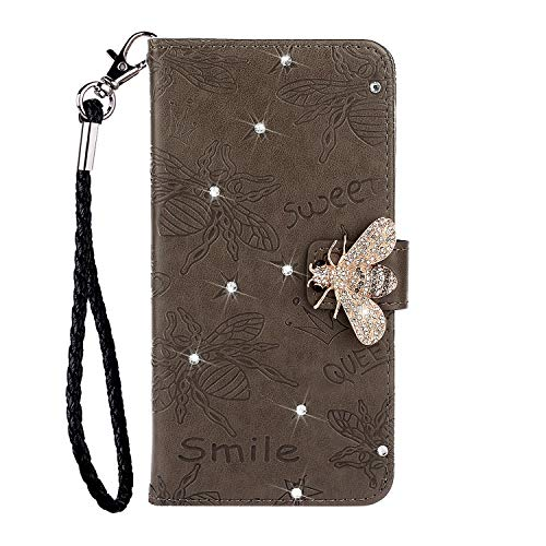 Tom's Village Glitter Diamonds Bee Wallet Case for Samsung Galaxy S20 ID/Credit Card Slots PU Leather Magnetic Flip Cover Shockproof Flexible Soft TPU Rubber Bumper Shell Slim Protective Cover Gray