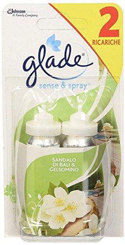 Glade Sense & Spray Ricarica Doppia, Deodorante Per Ambienti - Fragranza Sensual Sandalwood & Jasmine - Confezione da 2 Ricariche x 36ml
