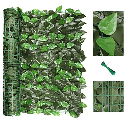 """120"""" x 40"""" Artificial Ivy Privacy Fence Screen, Privacy Wall, Privacy Screen, Artificial Faux Ivy Hedge Leaf & Vine Privacy Fence Wall Screen, Decoration for Outdoor Decor, Garden, Yard (Peach Leaf)"""