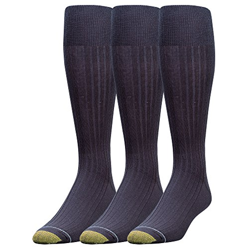 Gold Toe Men's Canterbury Over-The-Calf Dress Socks, 3 Pairs, Navy, Shoe Size: 6-12.5