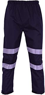 Extaum Sfvest High Visibility Reflective Rain Pants Waterproof Windproof Work Rain Trousers Outdoor Traffic Hiking Riding ...