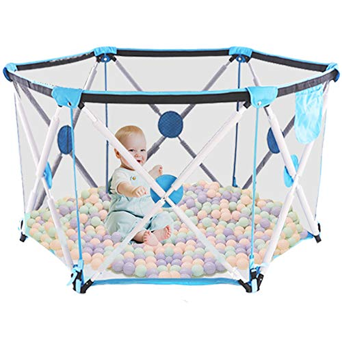 Arkmiido Baby Playpen Foldable Playyard for Babies Portable Hexagonal Folding Playpen with Breathable Mesh and Storage Bag, Indoor and Outdoor Play Pit for 0-4 Ages (No Balls) (Blue)