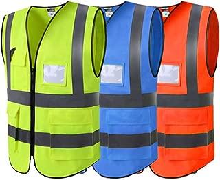 ljym88 Chaleco de Seguridad de Alta Visibilidad para el Reino Unido con Chaleco Reflectante con Cierre de Cremallera y Chaleco de Seguridad con Bolsillo LNegro y Amarillo