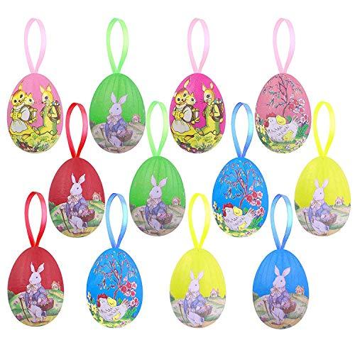 Moskado 12X Uova di Pasqua, Colorate Decorazioni Pasquali, Uova Finte Pasqua, Uova di Pasqua da Appendere, OVA di Plastica Multicolore per la Decorazione e Regali del Partito di Pasqua