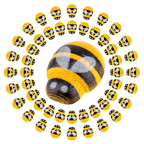SAVITA 200 Stück Hölzerne Biene Verschönerung Selbstklebende Biene für Handwerk Scrapbooking DIY Dekor, Babyparty, Geburtstag, Party Dekoration