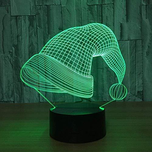 3D-nachtlampje met afstandsbediening, kerstmuts, LED-licht, cartoon nachtlampje, LED-intelligente 3D-afstandsbediening, acryl Creative Light_7 kleuren veranderbaar.
