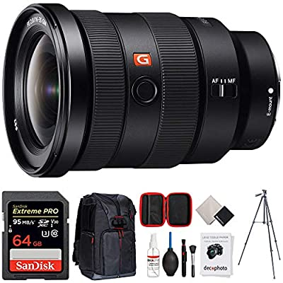 Sony FE 16-35mm F2.8 GM Wide-Angle Zoom Lens (SEL1635GM) + 64GB Accessories Bundle Includes, 64GB SDXC Memory Card, Photo Camera Sling Backpack, 60 Video Tripod and All-in-One Cleaning Kit from Sony