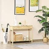 HOMCOM Mesa Consola Mesa de Entrada con 2 Cajones y Estante Inferior para Pasillo Salón Dormitorio de Estilo Rústico 100x30x76 cm Natural