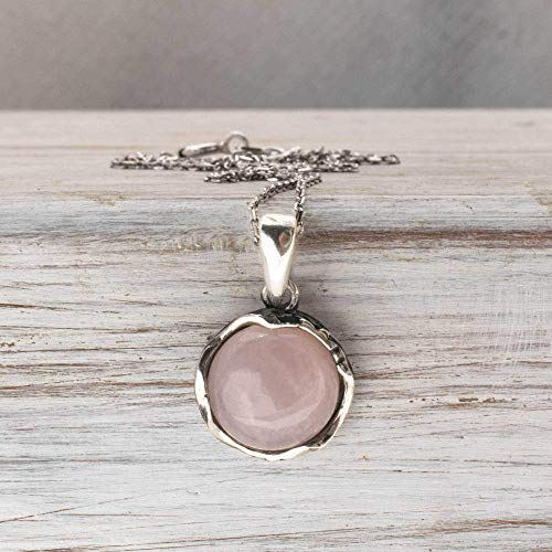 925 Sterling Silver Rose Quartz Necklace - Dainty 12mm Round Shiny Light Pink Rose Quartz, Real Natural Gemstone Pendant, Delicate Ornamented Handmade Vintage Statement Jewelry for Classy Women