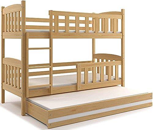 Interbeds Etagenbett Hochbett QUBA 3 (für DREI Kinder) 190x80cm, Farbe  Kiefer; mit Lattenroste + Matratzen (Kiefer + Klebeband Weiß)