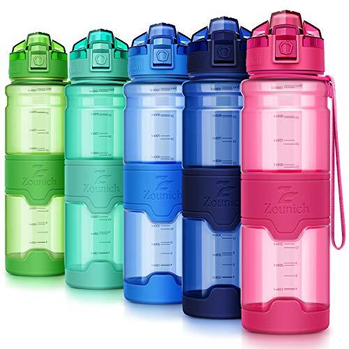 ZOUNICH Trinkflasche Sport BPA frei Kunststoff Sporttrinkflaschen für Kinder Schule, Joggen, Fahrrad, öffnen mit Einer Hand Trinkflaschen Filter, Rosa-klar, 25oz/700ml